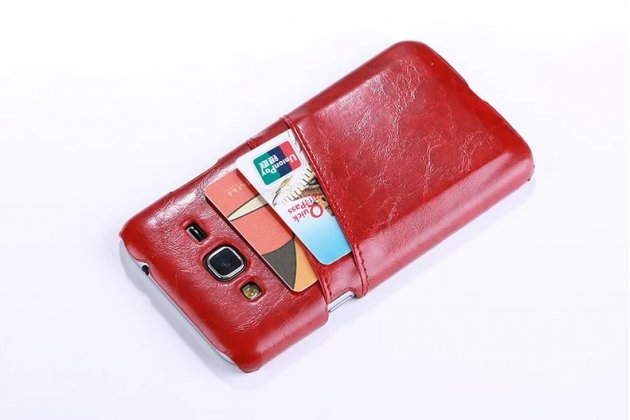 Фирменная роскошная элитная премиальная задняя панель-крышка для Samsung Galaxy J3 (2016) SM-J320F/DS/J320H/DS  из качественной кожи буйвола с визитницей красная