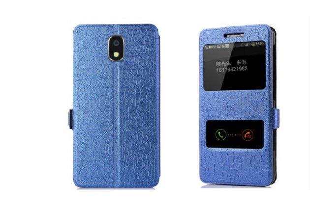 Фирменный чехол-книжка для Samsung Galaxy J3 Prime SM-J330F/Samsung Galaxy J3 (2017) SM-J330F синий с окошком для входящих вызовов и свайпом водоотталкивающий