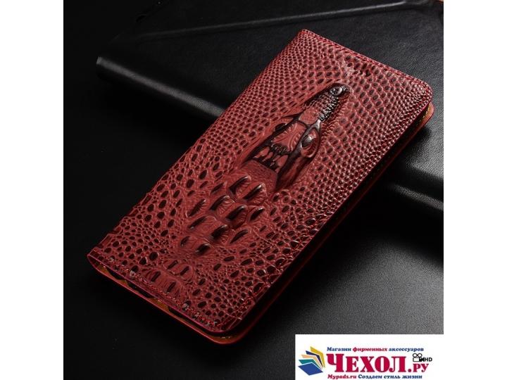 Фирменный роскошный эксклюзивный чехол с объёмным 3D изображением кожи крокодила цвет красное вино для Samsung..