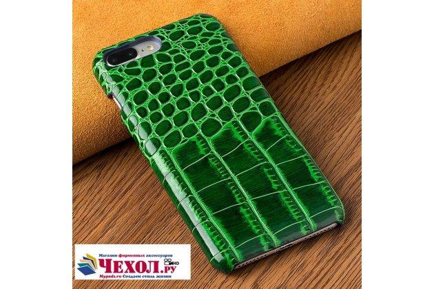 Фирменная неповторимая панель-крышка обтянутая кожей крокодила с фактурным тиснением для Samsung Galaxy J3 Prime SM-J330F/Samsung Galaxy J3 (2017) SM-J330F зеленая