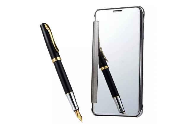 """Чехол-книжка с дизайном """"Clear View Cover"""" полупрозрачный с зеркальной поверхностью для Samsung Galaxy J3 (2017) SM-J330F серебристый"""