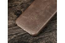 """Фирменная премиальная элитная крышка-накладка из тончайшего прочного пластика и качественной импортной кожи  для Samsung Galaxy J3 (2017) SM-J330F """"Ретро под старину"""" коричневая"""