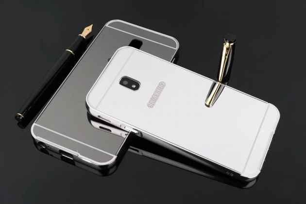 Фирменная металлическая задняя панель-крышка-накладка из тончайшего облегченного авиационного алюминия для Samsung Galaxy J3 Prime SM-J330F/Samsung Galaxy J3 (2017) SM-J330F серебристая