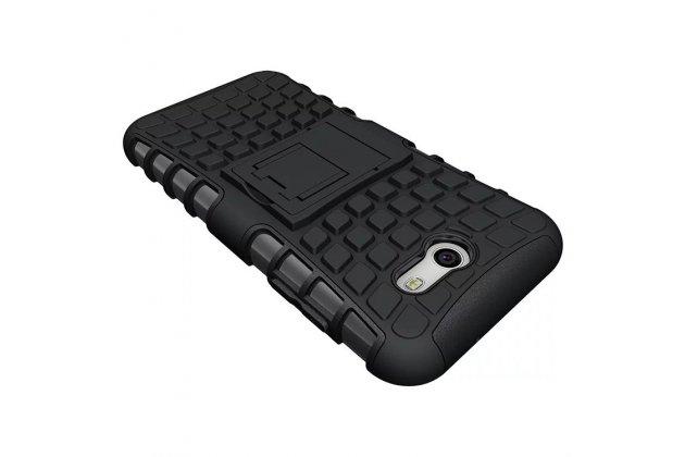 Противоударный усиленный ударопрочный фирменный чехол-бампер-пенал для Samsung Galaxy J3 Prime SM-J330F/Samsung Galaxy J3 (2017) SM-J330F черный