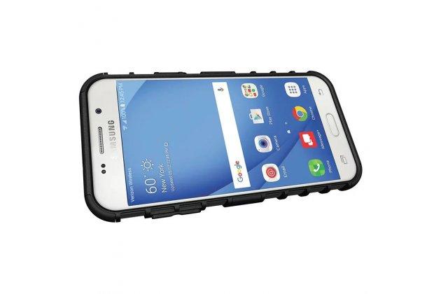 Противоударный усиленный ударопрочный фирменный чехол-бампер-пенал для Samsung Galaxy J3 Prime SM-J330F/Samsung Galaxy J3 (2017) SM-J330F  белый