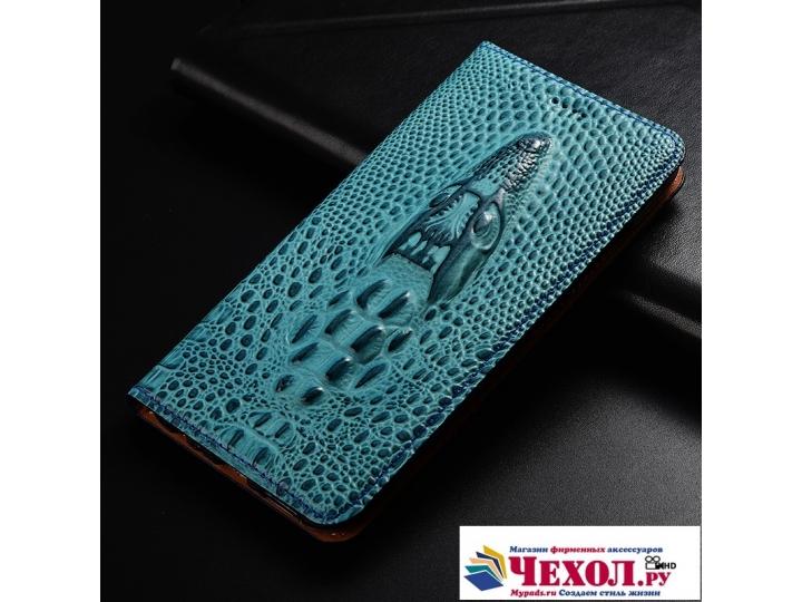 Фирменный роскошный эксклюзивный чехол с объёмным 3D изображением кожи крокодила синий для Samsung Galaxy J5 2..
