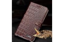 Фирменный роскошный эксклюзивный чехол с фактурной прошивкой рельефа кожи крокодила и визитницей коричневый для Samsung Galaxy J5 2016 SM-J510H/DS/ J510F/DS. Только в нашем магазине. Количество ограничено