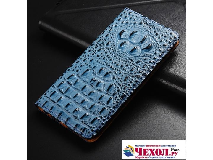 Фирменный роскошный эксклюзивный чехол с объёмным 3D изображением рельефа кожи крокодила синий для Samsung Gal..