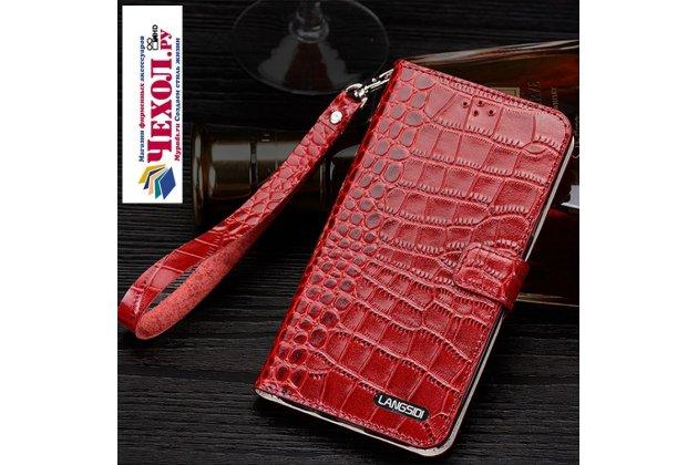 Фирменный роскошный эксклюзивный чехол с фактурной прошивкой рельефа кожи крокодила и визитницей красный для Samsung Galaxy J5 2016 SM-J510H/DS/ J510F/DS. Только в нашем магазине. Количество ограничено