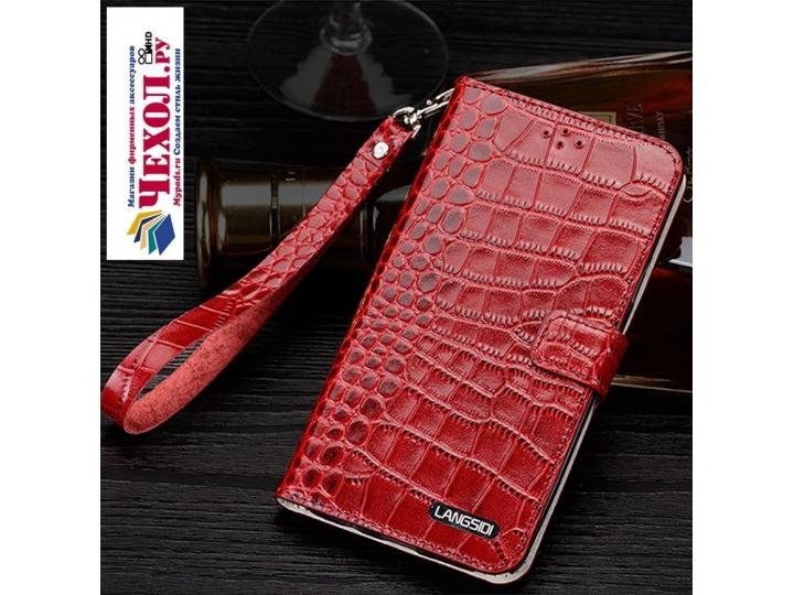 Фирменный роскошный эксклюзивный чехол с фактурной прошивкой рельефа кожи крокодила и визитницей красный для S..