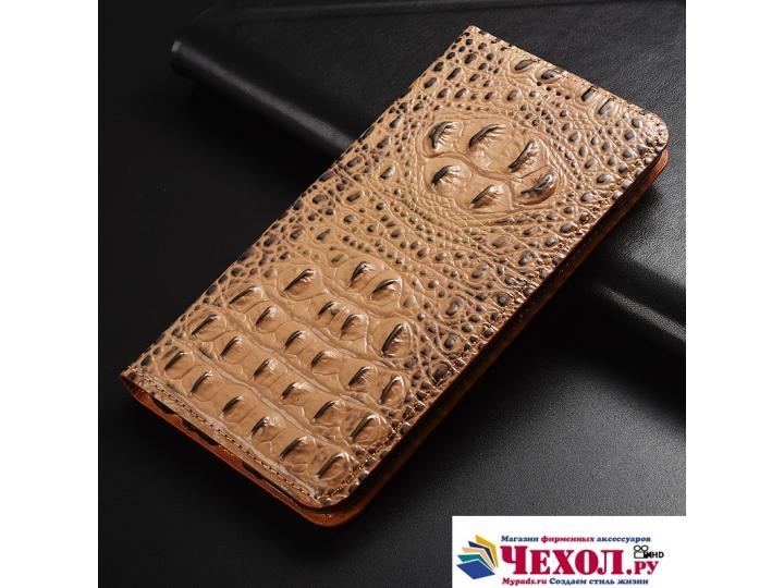 Фирменный роскошный эксклюзивный чехол с объёмным 3D изображением рельефа кожи крокодила коричневый для Samsun..