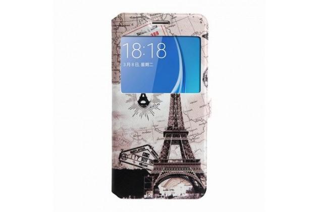 Фирменный уникальный необычный чехол-подставка для Samsung Galaxy J5 2016 SM-J510H/DS/ J510F/DS тематика Париж с окошком для входящих вызовов