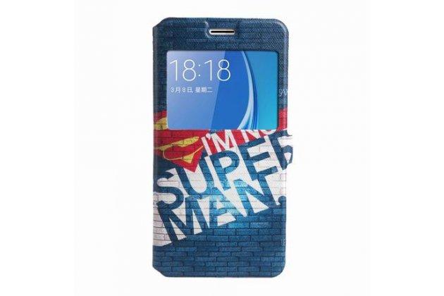 Фирменный уникальный необычный чехол-подставка для Samsung Galaxy J5 2016 SM-J510H/DS/ J510F/DS тематика Superman с окошком для входящих вызовов