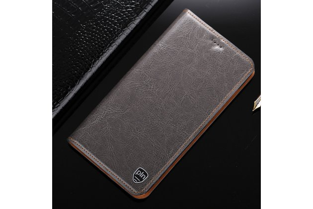 Фирменный чехол-книжка из качественной импортной кожи с подставкой застёжкой и визитницей для Samsung Galaxy J5 2016 SM-J510H/DS/ J510F/DS серый