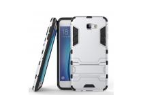 Противоударный усиленный ударопрочный фирменный чехол-бампер-пенал для Samsung Galaxy J5 Prime/ Samsung Galaxy On5 2016 серебристый