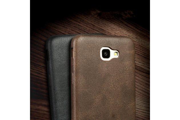 """Фирменная премиальная элитная крышка-накладка из тончайшего прочного пластика и качественной импортной кожи  для Samsung Galaxy J5 Prime/ Samsung Galaxy On5 2016  """"Ретро под старину"""" черная"""