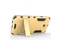 """Противоударный усиленный ударопрочный фирменный чехол-бампер-пенал для Samsung Galaxy J7 Prime SM-G610F/DS 5.5""""  золотой"""