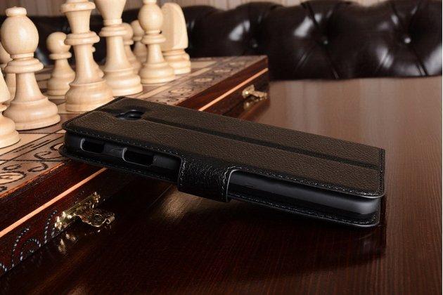 """Фирменный чехол-книжка из качественной импортной кожи с подставкой застёжкой и визитницей для Samsung Galaxy J7 Prime SM-G610F/DS 5.5"""" черный"""