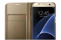 """Фирменный оригинальный 100% подлинный чехол с логотипом """"LED View Cover"""" полупрозрачный с зеркальной поверхностью для Samsung Galaxy S7 G930 / G9300 5.1 золотой"""
