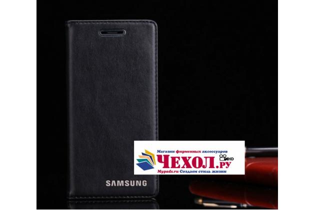 """Фирменный премиальный элитный чехол-книжка из качественной импортной кожи с мульти-подставкой и визитницей для Samsung Galaxy S7 G930 / G9300 5.1  """"Ретро"""" черный"""