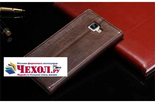 """Фирменный премиальный элитный чехол-книжка с логотипом из качественной импортной кожи с мульти-подставкой и визитницей для Samsung Galaxy S7 G930 / G9300 5.1  """"Ретро"""" коричневый"""
