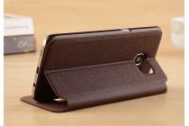 Фирменный чехол-книжка для Samsung Galaxy S7 G930 / G9300 5.1 коричневый с окошком для входящих вызовов и свайпом водоотталкивающий
