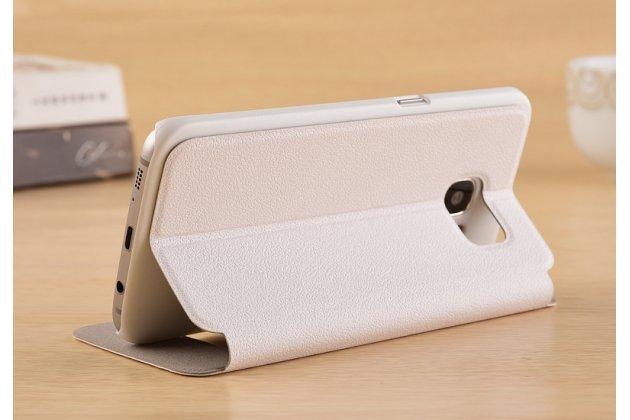 Фирменный чехол-книжка для Samsung Galaxy S7 G930 / G9300 5.1 белый с окошком для входящих вызовов и свайпом водоотталкивающий