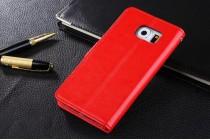 Фирменный чехол-книжка из качественной импортной кожи с подставкой застёжкой и визитницей для Samsung Galaxy S7 G930 / G9300 5.1 красный