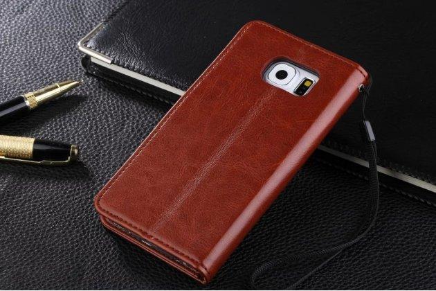 Фирменный чехол-книжка из качественной импортной кожи с подставкой застёжкой и визитницей для Samsung Galaxy S7 G930 / G9300 5.1 коричневый