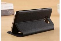 Фирменный чехол-книжка для Samsung Galaxy S7 G930 / G9300 5.1 черный с окошком для входящих вызовов и свайпом водоотталкивающий