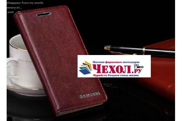 """Фирменный премиальный элитный чехол-книжка с логотипом из качественной импортной кожи с мульти-подставкой и визитницей для Samsung Galaxy S7 G930 / G9300 5.1  """"Ретро"""" цвет красное вино"""