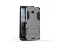 Противоударный усиленный ударопрочный фирменный чехол-бампер-пенал для Samsung Galaxy S8 SM-G9500 серый