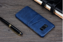 Фирменная роскошная элитная премиальная задняя панель-крышка для Samsung Galaxy S8 SM-G9500 из качественной кожи буйвола с визитницей синий