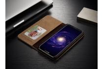 Фирменный премиальный чехол-книжка с визитницей и мультиподставкой для Samsung Galaxy S8 SM-G9500 синий из настоящей джинсы