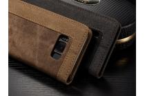 Фирменный премиальный чехол-книжка с визитницей и мультиподставкой для Samsung Galaxy S8 SM-G9500 коричневый из настоящей джинсы