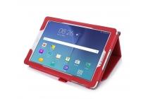 Фирменный чехол бизнес класса для Samsung Galaxy Tab A 10.1 2016 SM-P580/P585 S-Pen с визитницей и держателем для руки красный натуральная кожа Prestige Италия