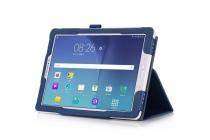 Фирменный чехол бизнес класса для Samsung Galaxy Tab A 10.1 2016 SM-P580/P585 S-Pen с визитницей и держателем для руки синий натуральная кожа Prestige Италия
