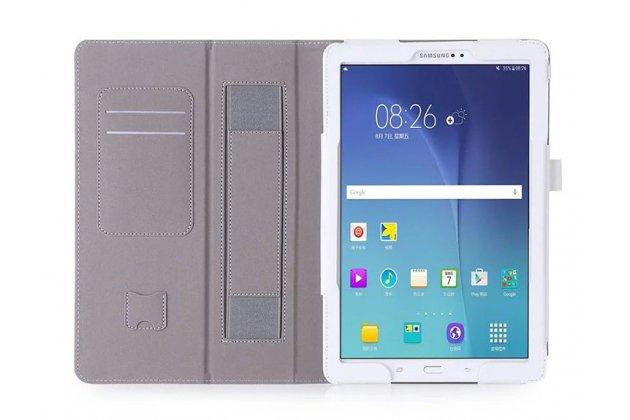 Фирменный чехол бизнес класса для Samsung Galaxy Tab A 10.1 2016 SM-P580/P585 S-Pen с визитницей и держателем для руки белый натуральная кожа Prestige Италия
