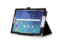 Фирменный чехол бизнес класса для Samsung Galaxy Tab A 10.1 2016 SM-P580/P585 S-Pen с визитницей и держателем для руки черный натуральная кожа Prestige Италия