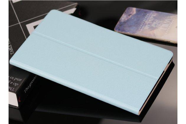 Фирменный чехол-обложка с подставкой для Samsung Galaxy Tab A 10.1 2016 SM-P580/P585 S-Pen голубой кожаный