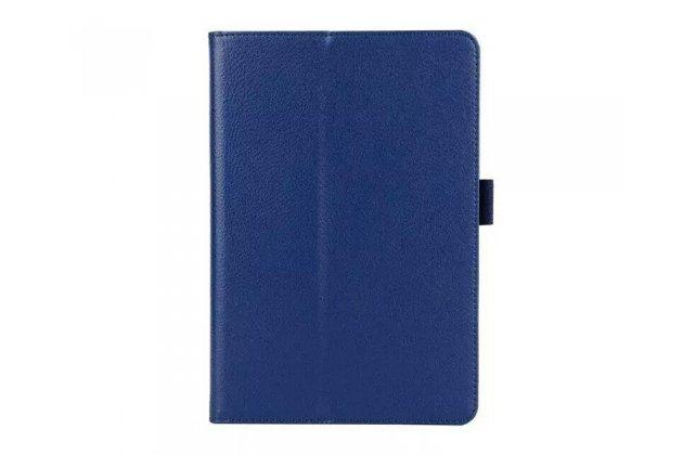Фирменный чехол-обложка с подставкой для Samsung Galaxy Tab A 10.1 2016 SM-P580/P585 S-Pen синий кожаный