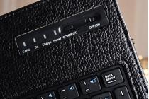 Фирменный чехол со съёмной Bluetooth-клавиатурой для Samsung Galaxy Tab A 10.1 2016 SM-T580 / T585C / T585N черный кожаный + гарантия