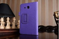 Фирменный чехол бизнес класса для Samsung Galaxy Tab A 2016 7.0 SM-T285/ T280 / T280N / T288 / T285C с визитницей и держателем для руки фиолетовый натуральная кожа Prestige Италия