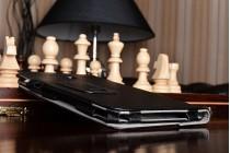 Фирменный чехол бизнес класса для Samsung Galaxy Tab A 2016 7.0 SM-T285/ T280 / T280N / T288 / T285C с визитницей и держателем для руки черный натуральная кожа Prestige Италия