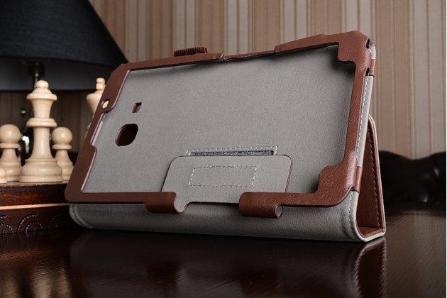 Фирменный чехол бизнес класса для Samsung Galaxy Tab A 2016 7.0 SM-T285/ T280 / T280N / T288 / T285C с визитницей и держателем для руки коричневый натуральная кожа Prestige Италия