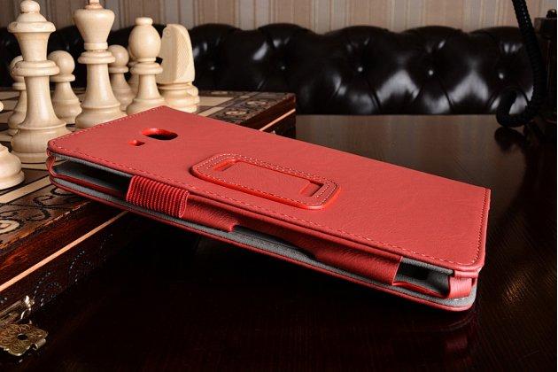Фирменный чехол бизнес класса для Samsung Galaxy Tab A 2016 7.0 SM-T285/ T280 / T280N / T288 / T285C с визитницей и держателем для руки красный натуральная кожа Prestige Италия