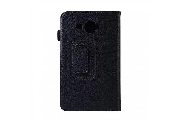 Фирменный чехол-обложка с подставкой для Samsung Galaxy Tab J 7.0 черный кожаный