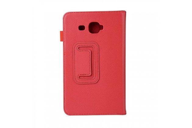 Фирменный чехол-обложка с подставкой для Samsung Galaxy Tab J 7.0 красный кожаный