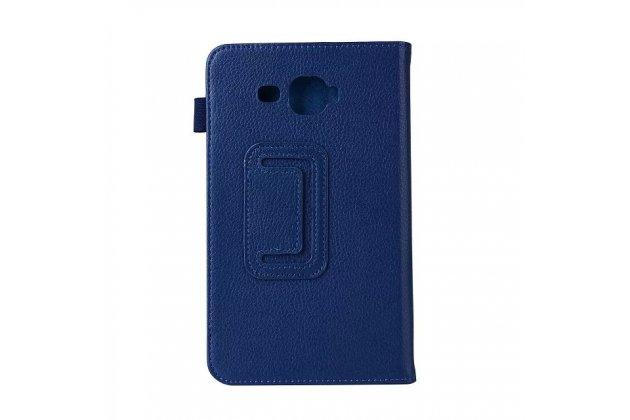 Фирменный чехол-обложка с подставкой для Samsung Galaxy Tab J 7.0 синий кожаный