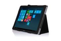 """Фирменный чехол-сумка для Samsung Galaxy Tab Pro S 12.2"""" SM-W700 / W703 / W707 с визитницей и держателем для руки черный кожаный """"Prestige"""" Италия"""